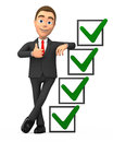 Successful businessman with checkmarks d Stock Photo