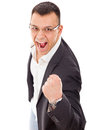 Successful businessman clenching fist in excitement young Royalty Free Stock Photography