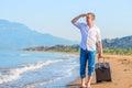 Successful businessman on a desert island Royalty Free Stock Photo
