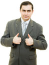 Successful businessman gesture shows okay Stock Photo