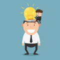 Successful businessman give another businessman new idea bulb Royalty Free Stock Photo