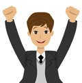 Successful businessman heaving up hands upwards is glad to vict victory vector illustration Royalty Free Stock Photography