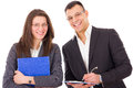 Successful businessman and his secretary young smiling Royalty Free Stock Image