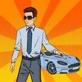Successful Businessman. Man Holding a Car Key. Pop Art Royalty Free Stock Photo