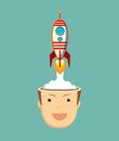 Successful businessman with rocket ship launching from his head.