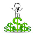 Successful businessman standing on dollar symbols Royalty Free Stock Photography