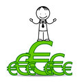 Successful businessman standing on euro symbols Stock Photography