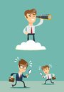 Successful businessman with telescope on cloud above others .