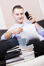 Successful businessman working at home. Stock Photography