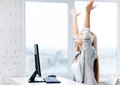 Successful businesswoman picture of happy woman celebrating her win Royalty Free Stock Image
