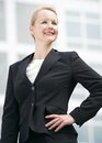 Successful businesswoman standing outdoors portrait of a Royalty Free Stock Photos