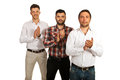 Successful casual men clapping hands business standing in a row and their isolated on white background Stock Photos
