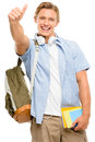 Successful college student back to school thumbs up isolated on showing sign Royalty Free Stock Photos