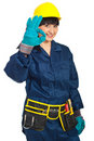 Successful constructor worker female Stock Photos