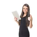 Successful elegant businesswoman using tablet computer latina smiling showing thumb up looking at camera isolated on white Royalty Free Stock Photos