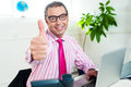 Successful entrepreneur showing thumbs up Stock Photography