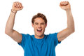 Successful excited isolated young guy handsome over white Royalty Free Stock Photo