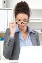 Successful executive young dynamic business woman with glasses Royalty Free Stock Photography