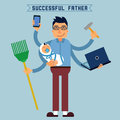 Successful father super dad super man multitasking man perfect husband skillful hands with baby and son with Royalty Free Stock Photo