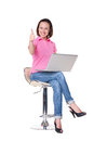 Successful girl gesturing thumbs up Royalty Free Stock Photography