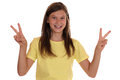 Successful girl making the victory sign Royalty Free Stock Photo