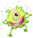 A successful green monster illustration of on white background Royalty Free Stock Images
