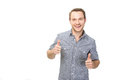 Successful guy isolated on white thumbs up Royalty Free Stock Photos