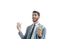Successful and happy business man with money in his hands Royalty Free Stock Photo