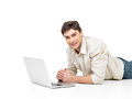 Successful happy man with laptop Royalty Free Stock Photography