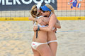 Successful hug in women s beach volleyball a fivb world tour game is a game which has achieved worldwide popularity photo taken Stock Photos