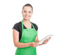 Successful hypermarket employee holding modern tablet Royalty Free Stock Photo