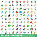 100 successful icons set, isometric 3d style