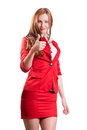 Successful lady in red on a white background Royalty Free Stock Photo
