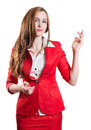 Successful lady in red on a white background Stock Photos