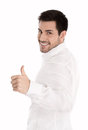 Successful man isolated over white with thumbs up gesture brunett Royalty Free Stock Photography
