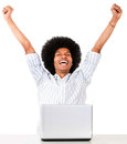 Successful man on a laptop Royalty Free Stock Image