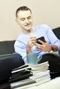 Successful man working at home. Royalty Free Stock Photo