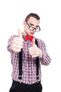 Successful nerd man thumbs up showing isolated on white background Stock Images