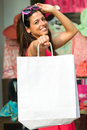 Successful shopping and bags woman holding blank after buying clothes in sales happy shopper Royalty Free Stock Photo