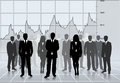 Successful team business silhouettes global economy stats Royalty Free Stock Photography