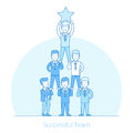 Successful Team men pyramid Flat line art business
