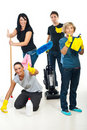 Successful teamwork of cleaning workers Royalty Free Stock Photo