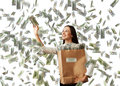 Successful woman catching money smiley businesswoman with paper bag under dollar s rain Royalty Free Stock Image