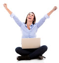 Successful woman with a laptop Stock Photo