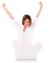 Successful woman with a laptop isolated over white background Royalty Free Stock Images