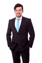 Successful young business man smiling isolated Royalty Free Stock Photo