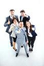 Úspěšný mladý obchod lidé zobrazené palec nahoru