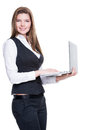 Successful young business woman holding laptop isolated on white Royalty Free Stock Photos