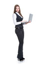 Successful young business woman holding laptop portrait in full length isolated on white Royalty Free Stock Photo