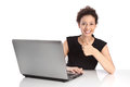 Successful young business woman - isolated with laptop and thumb Royalty Free Stock Photo